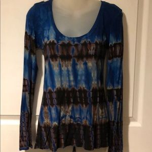 Go Couture Batik Tie dye High low scoop neck top S